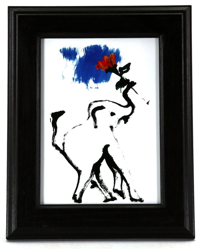 Thai Elephant Painting Framed - Blue Skys 5'' x 7'' Print