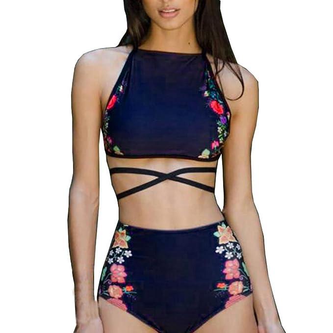 Conjunto Bikini,Venmo Mujer Traje de baño Cintura Alta Push-up Geométrico Impresión Sujetador