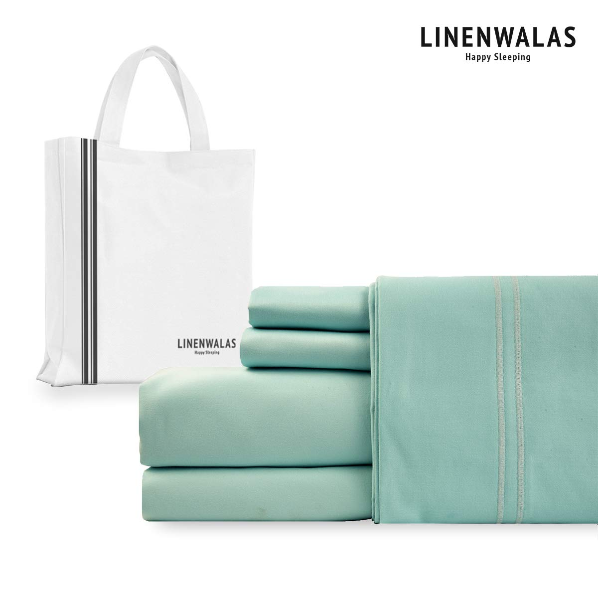 LINENWALAS 1000 Thread-Count 100% Cotton Hotel Luxury Bed Sheets - 4Pc Sheet Set - Extra Soft - Deep Pockets - Easy Fit - Breathable & Cooling Sheets -Wrinkle Free - Turquoise Bed Sheets - King Sheet