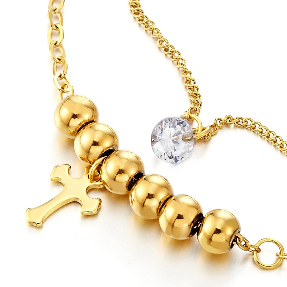 Stainless Steel Gold Color Double Chain Anklet Bracelet with Beads and Dangling Charms of Cross by COOLSTEELANDBEYOND (Image #2)