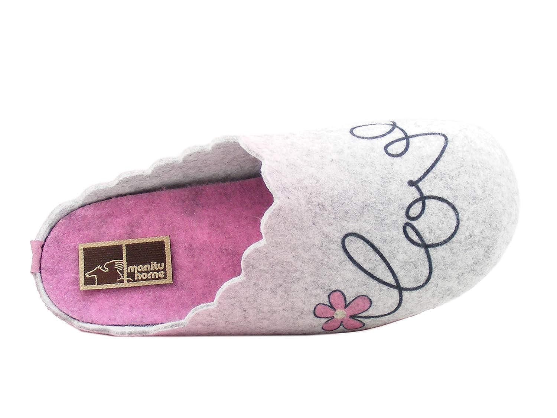 Manitu 320558 Schuhe Damen Hausschuhe Pantoffeln Filz