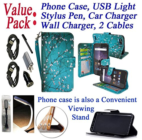 Value Pack Cables + for 5″ ZTE Avid 4 TEMPO X BLADE VANTAGE Case Designed Wallet Phone Case Hybrid Stand Pouch Pocket Purse Screen Flip Cover (Blossom Teal)