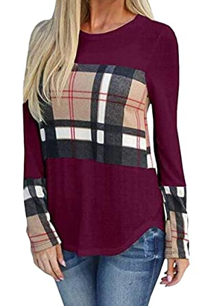 e8b6e134471a9 VaeJY Women s Plus Size Contrast Plaid Check Long Sleeve Comfy Blouse T- Shirt Top Wine