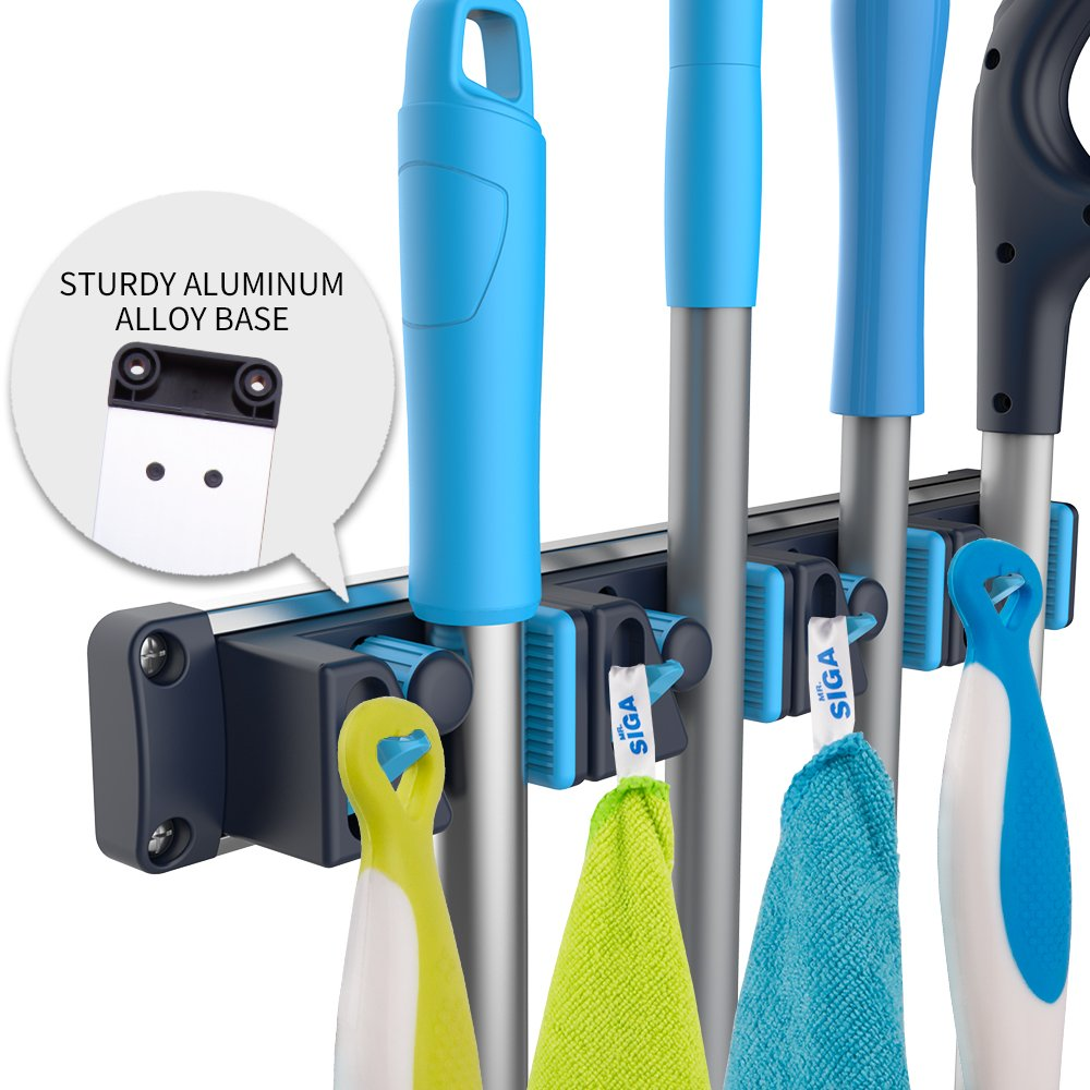 MR.SIGA Mop and Broom Holder,4 Slots and 4 Retractable Hooks, Sturdy Aluminum Alloy Base, Blue