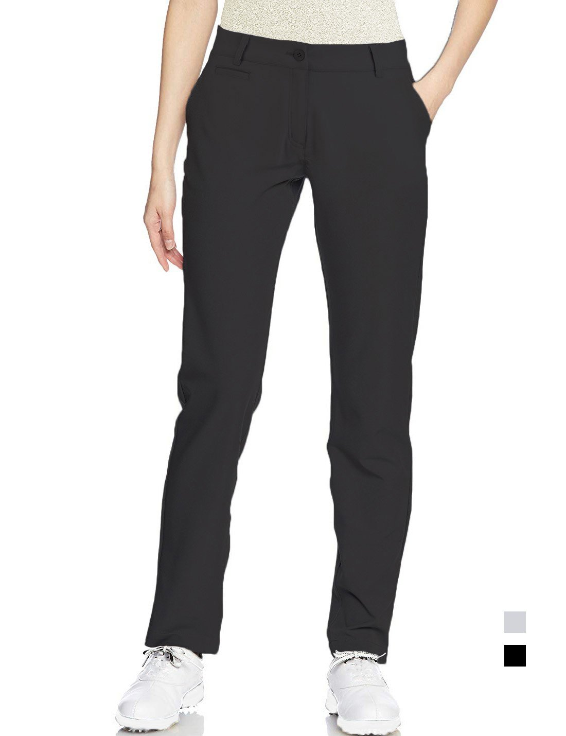 Golf Pants Women Long Stretch Tall Straight Leg Twill Work Chino Ladies Size 14 Black by Lesmart