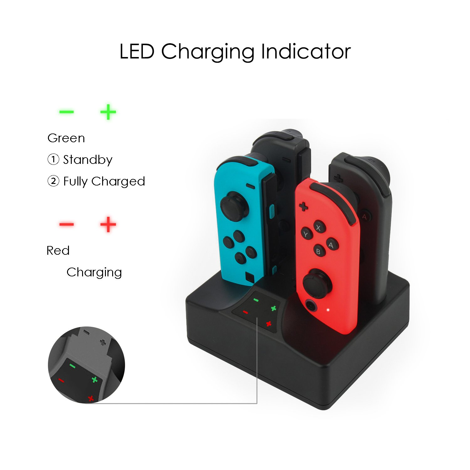 YCCTEAM Charging Dock for Nintendo Switch Joy-con Controllers, 5V/1A Charger Stand Station Fast Charging Portable Power Supply with 1.5 M Type C Cable
