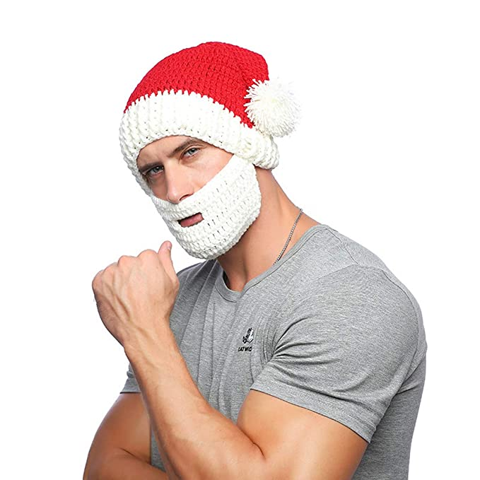 ab85dcd0019 Amazon.com  CHENMA Christmas Beard Hat Beanie Hat Knit Hat Winter Warm Santa  Hat Windproof Funny for Men   Women (Style 1)  Clothing