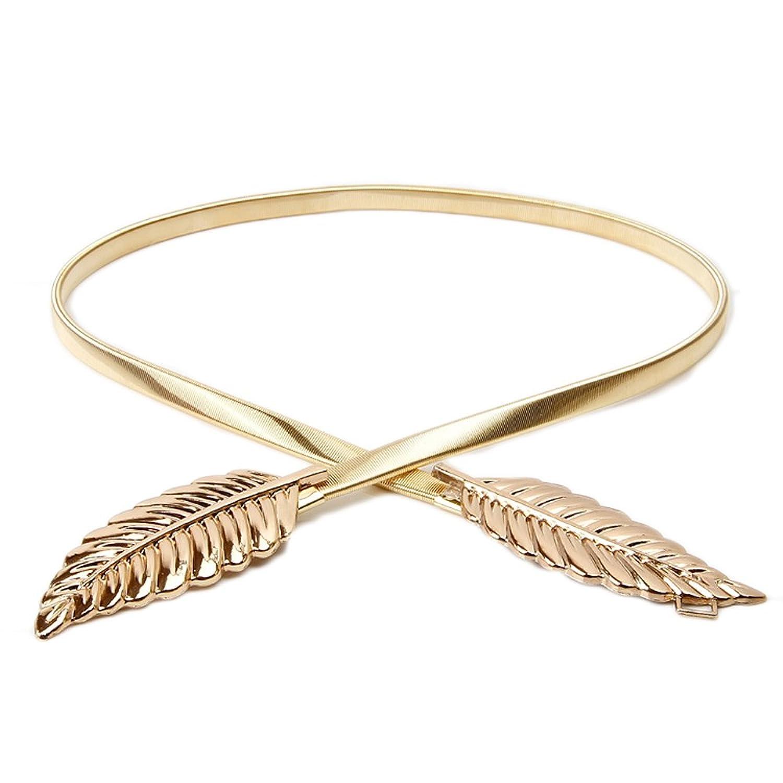 SoAyle Metal Leaves Gold Waistband Elastic Stretch Waist Strap Cummerbund Waist Belt