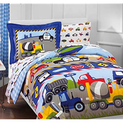 Construction Trucks, Police Cars, Tractors, Boys Twin Comforter Set (5 Piece Bedding): Home & Kitchen