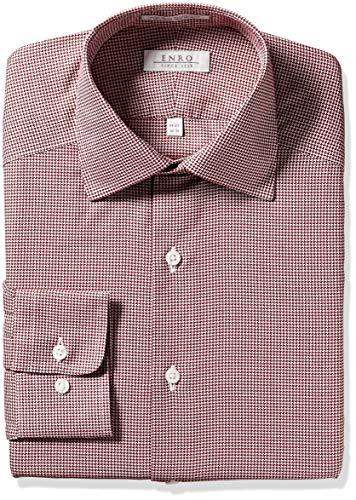 (Enro Men's Paddington Houndstooth Non-Iron Tailored Fit Dress Shirt, Burgundy, 180 x 34/35)