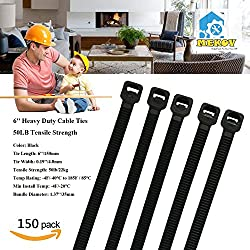 """Nylon Cable Ties, Mekov, 6 Inch Heavy Duty Cable Ties, 50-LB Tensile Strength, Zip Ties with 0.19 Inch Width, Durable, Indoor & Outdoor use, UV Resistant (6"""", 150 Pack, Black)"""