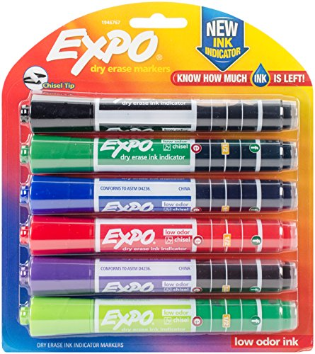 Ink Indicator Dry Erase Marker, Chisel Tip, Assorted Colors, (Reg Chisel Tip Whiteboard Marker)