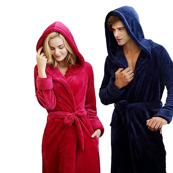 7 VEILS Women and Men Microfleece Flannel Ultra Long Floor-Length Hooded  Bathrobes  Amazon.co.uk  Clothing a55bfd6b0