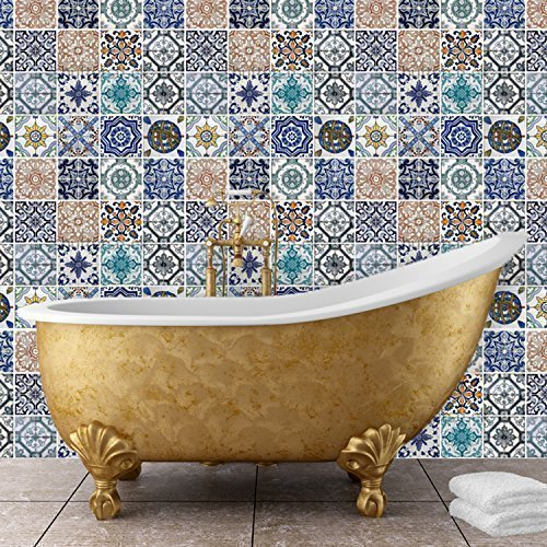 "Walplus 54x54 cm Wall Stickers ""Mosaic Tile Patterns"" Removable Self-Adhesive Mural Art Decals Vinyl Home Decoration DIY Living Bedroom Décor Wallpaper Kids Room Gift, Multi-colour"