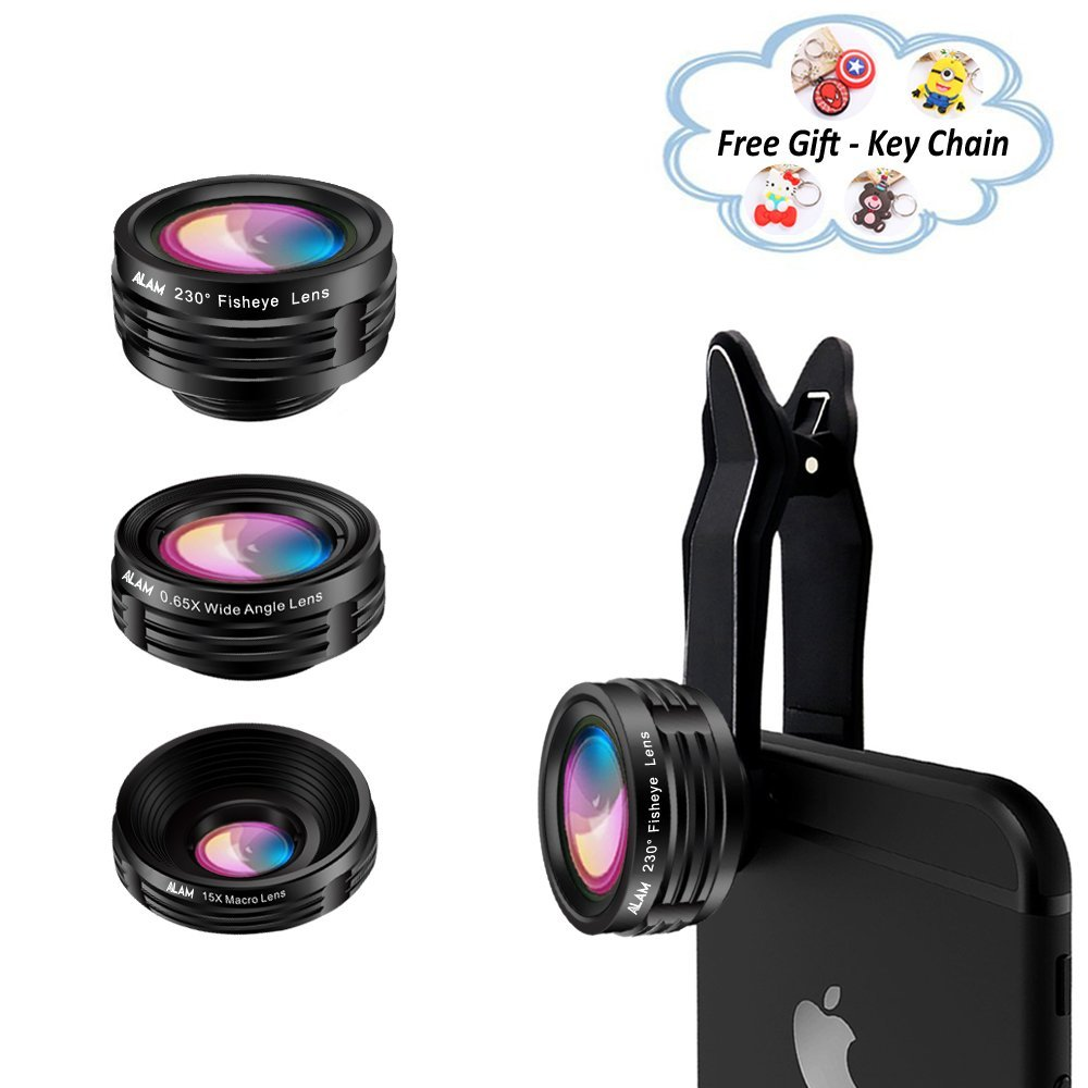 Cell Phone Camera Lens Kit, Universal Smartphone HD Macro x15, Fisheye 230° and Wide Angle 0.65X Photo Lenses, Fits iPhone 5S, 6, 6S, 7, 8, X, Samsung, LG, Huawei Smart Phones, Bonus Lens Hard Case