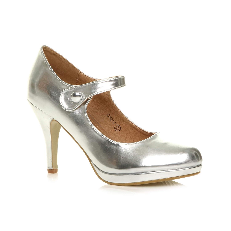 Damen Mittel Hoher Absatz Mary Jane Riemen Abend Elegant Pumps Schuhe Größe