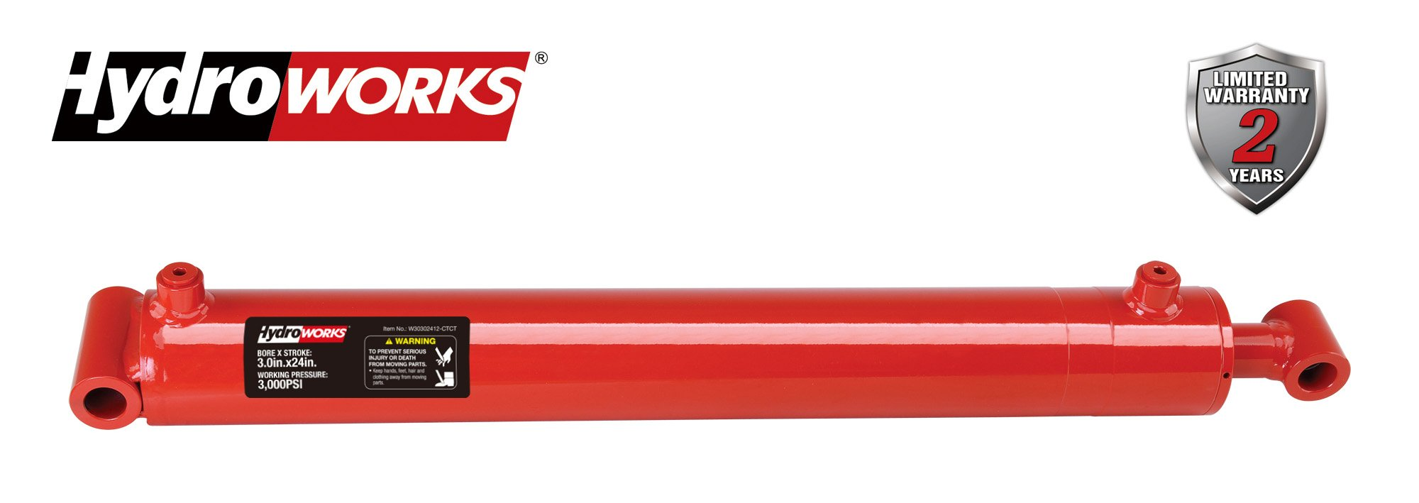 HYDROWORKS Double Acting Tie Rod Hydraulic Cylinder, 2500 PSI (3'' Bore/ 24'' Stroke - Cross End)