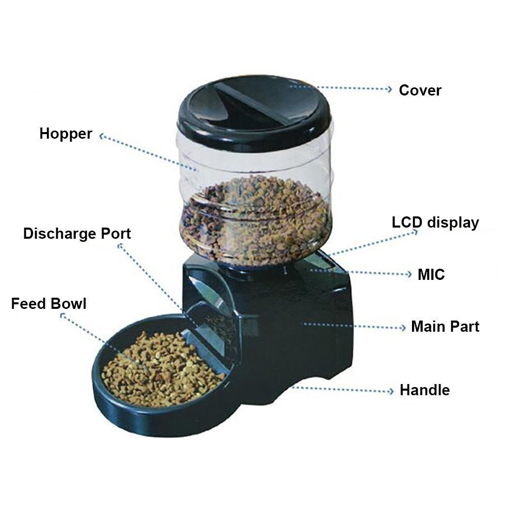 Haoren 5.5L Automatic Pet Feeder, Recordable Dog Cat Dry Food Container with LCD Screen by Haoren (Image #5)