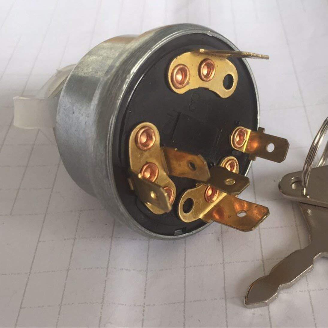 Interruptor de encendido del tractor Digger Start para Massey Ferguson John con 2 llaves