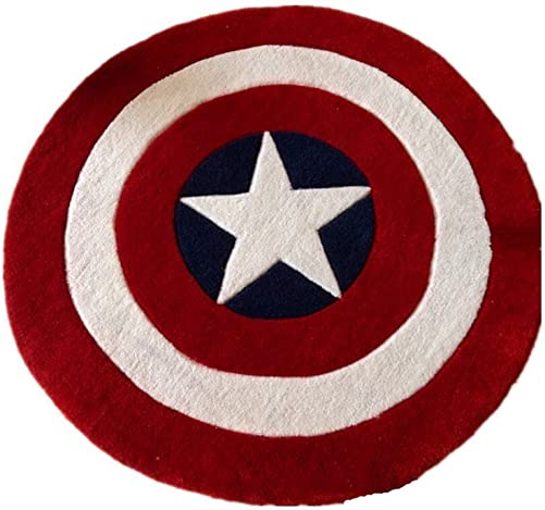 Norson Round Rugs Captain America Shield Carpet Office Circular Mats Circular Living Room Bedroom Carpet 120cmX120cm