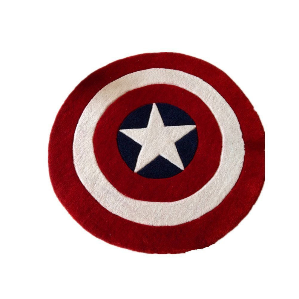 Norson Round Rugs Captain America Shield Carpet Office Circular Mats Circular Living Room Bedroom Carpet (120cmX120cm)