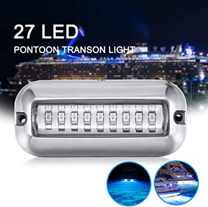 50W Stainless Steel 27 LED Underwater Pontoon Marine Boat Transom Lights 3 color