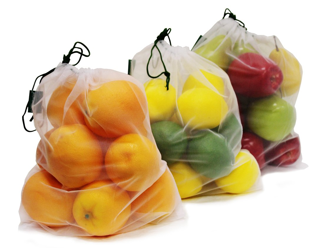 Earthwise Reusable Mesh Produce Bags  Washable Set of 9 Premium Bags TRANSPARENT Lightweight Strong