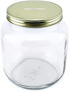 Cornucopia Large Coin Bank Jar; Half Gallon Clear Glass Piggy Bank with Gold Slotted Lid