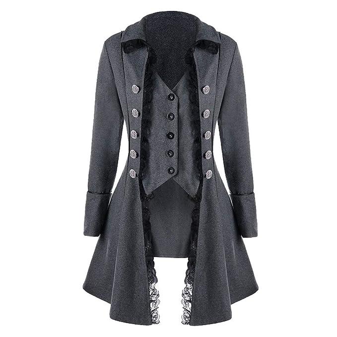 Yunhou Mujer Vintage Steampunk Swallowtail Tailcoat, Otoño Invierno El Botón Abrigo Ropa Retro Uniforme Chaqueta, Gotico Victorian Costura Encaje Chaqueta ...