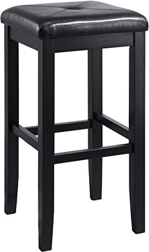 Crosley Furniture Upholstered Square Seat Bar Stool Set of 2 , 29-inch, Black