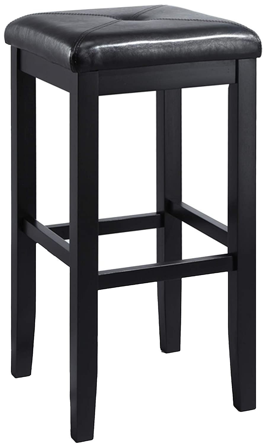 Crosley Furniture CF500529-BK Upholstered Square Seat Bar Stool (Set of 2), 29-inch, Black