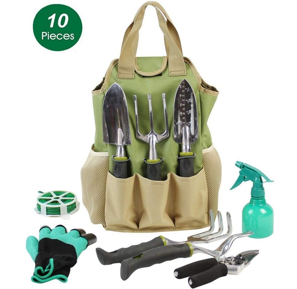 INNO STAGE Gardening Tools Set Organizer Tote Bag 10 Piece Garden Tools,Best Garden Gift Set,Vegetable Gardening Hand Tools Kit Bag Garden Digging Claw Gardening Gloves