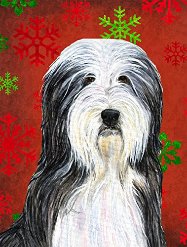 Caroline's Treasures SS4704GF Bearded Collie Snowflakes Holiday Christmas Flag, Small, Multicolor Review