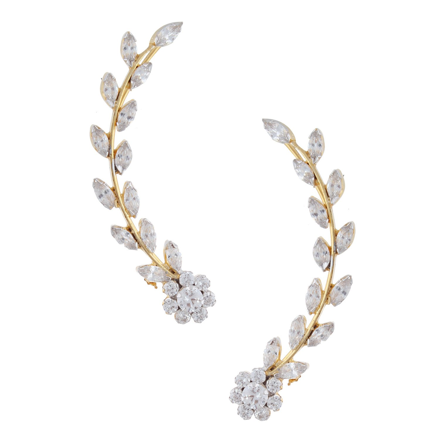 Efulgenz Ear cuffs Cubic Zirconia Flower Leaf Climber Crawler Cartilage Clip on Cuff Wrap Earrings