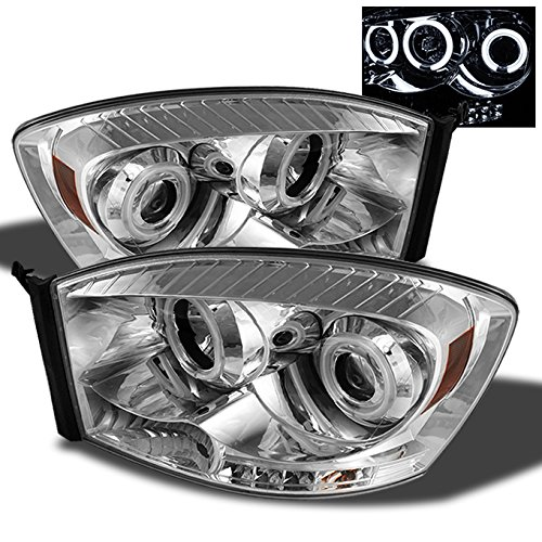 - For Dodge Ram Pickup Truck Chrome Clear Dual CCFL Halo Ring LED Projector Headlights Pair Replacement