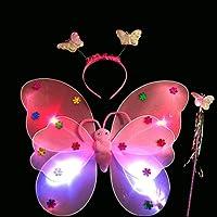 Ensemble 3 pièces Upxiang avec ailes de papillon à LED, serre-tête papillon et baguette magique papillon - Pour déguisement de fée pour enfant - Pour Noël, anniversaire ou Halloween