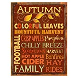 Wood-Framed Autumn Words Subway Metal Sign, Autumn, Kitchen Décor, Thanksgiving, Fall, Harvest on reclaimed, rustic wood