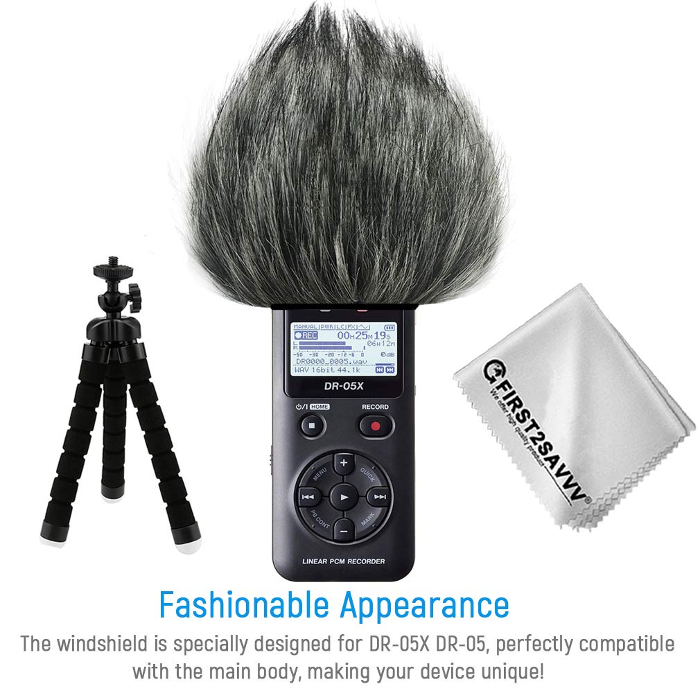 Long Outdoor Portable Digital Recorders Furry Microphone Mic Windscreen Wind Muff Compatible With Tascam DR05X DR05