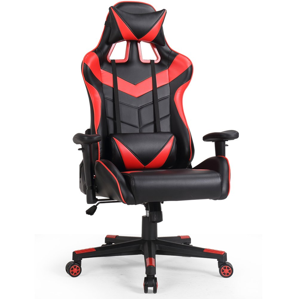 OWLN Executive Racing Chair PU Leather Swivel with Lumbar Support and Head Support Cushion for Home Gaming Computer and Office Chair