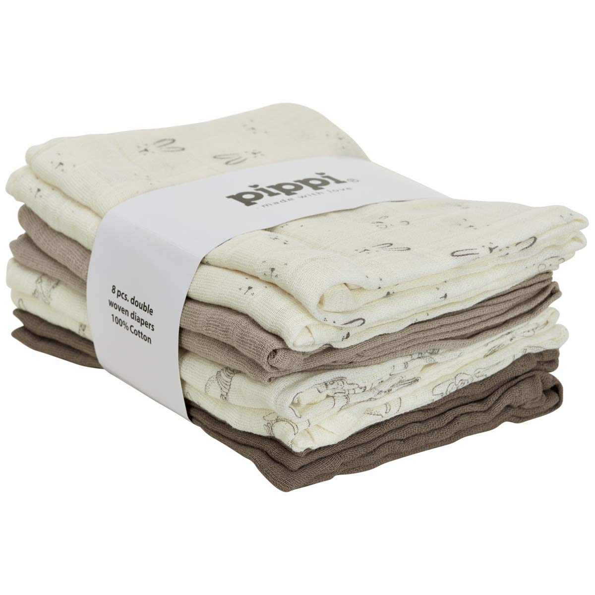 Pippi Mullt/ücher 8er-Pack Creme//beige//Taupe Gr/ö/ße 70x70 cm