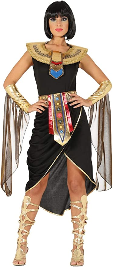 Ladies Long Black Gold Sparkle Egyptian Goddess Wig Historical Fancy Dress Costume Outfit Accessory