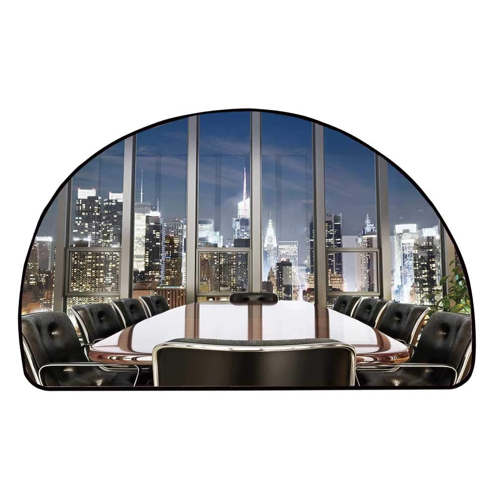 C COABALLA Modern Decor Comfortable Semicircle Mat,Business Office Conference Room Table Chairs City View at Dusk Realistic for Living Room,35.4'' H x 70.8'' L