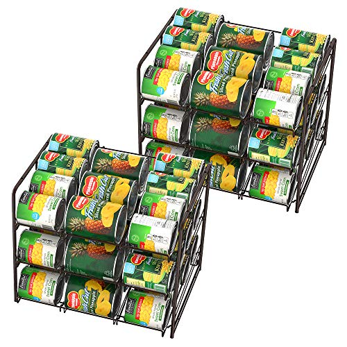 NEX 2 Packs Stackable Can Rack Organizer, 3 Tier Can Storage Dispenser Rack Holder for 36 Cans (Each) (Can Organizer For Pantry)