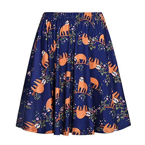 Fancyqube Women's Elastic Waist Cute Sloth Print Flared Mini Skirt Navy Blue -