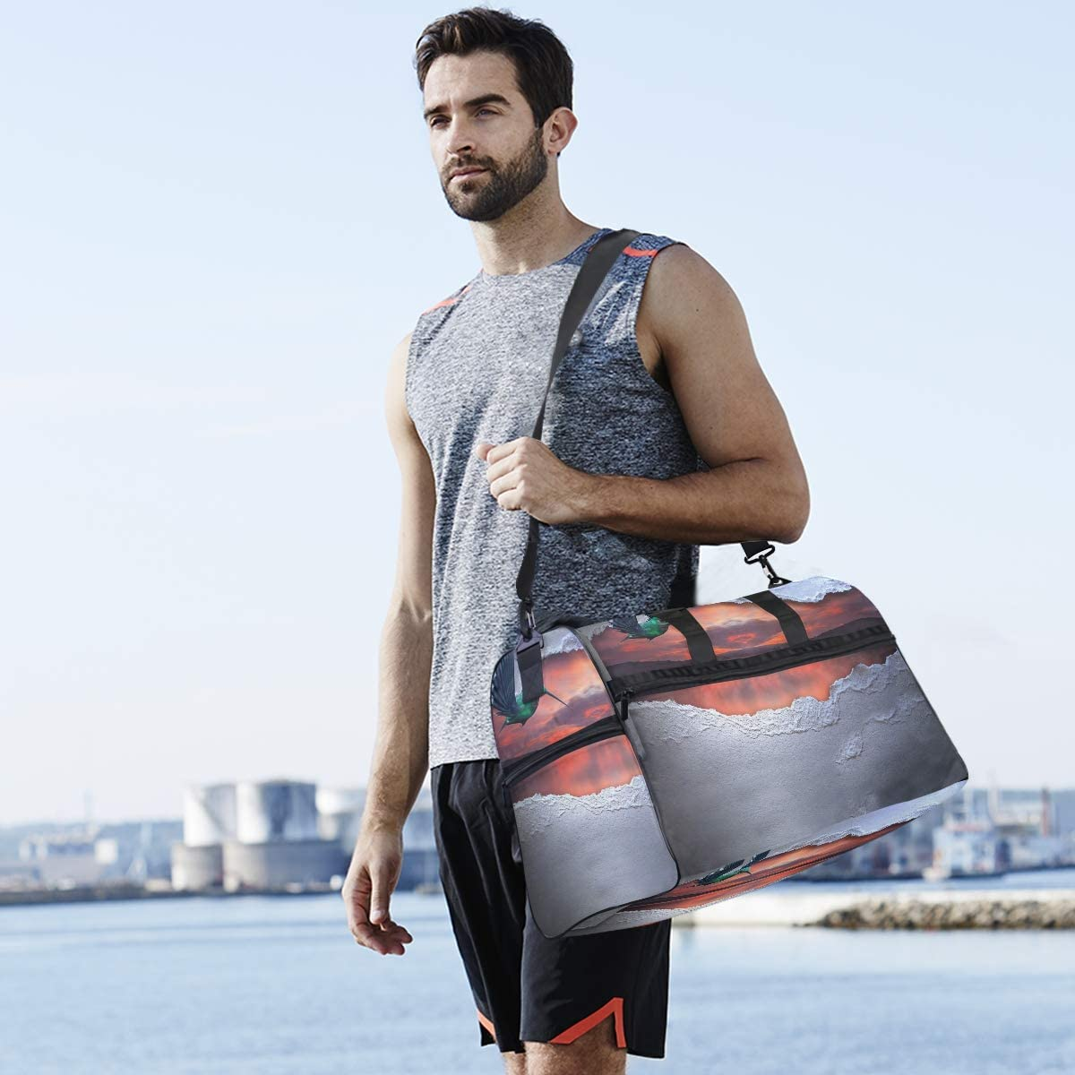 MUOOUM Landscape Scenery Bird Large Duffle Bags Sports Gym Bag with Shoes Compartment for Men and Women