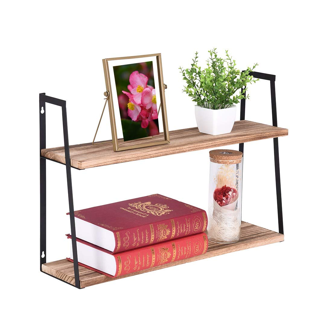 Rigel7 2 Tier Floating Rustic Floating Book Shelves Wall Mounted Industrial Wall Shelves for Kitchen Entryway Wood Storage Shelf by Rigel7