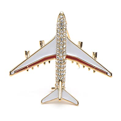15ca8915e7 New-Hi Rhinestone Airplane Model Brooch Corsage Pin Flight Attendant  Uniform Jewelry Clothes Suit Decor for Women Ladies Girs