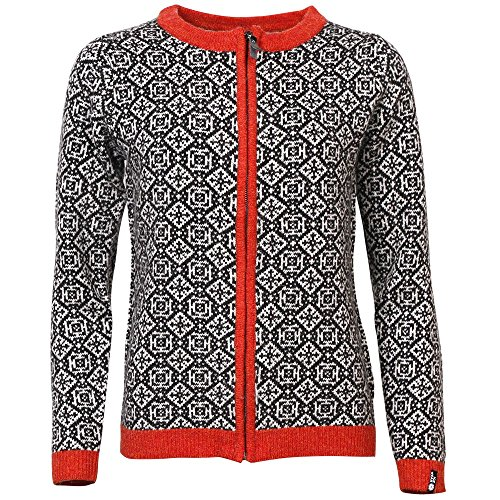 ICEWEAR HROPNN Women's Wool Sweater Norwegian Design Full Zip Angora Blend Sweater Light and Comfortable Long Sleeve Outdoor | Black - Small