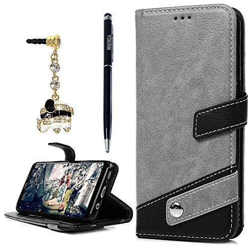 YOKIRIN Galaxy S8 Plus Case, Classic Pattern PU Leather Wallet Case Soft TPU Inner Card ID Holder Stand Feature Folio Flip Wrist Strap Cover for Samsung Galaxy S8 Plus Dust Plug & Pen, Gray & Black