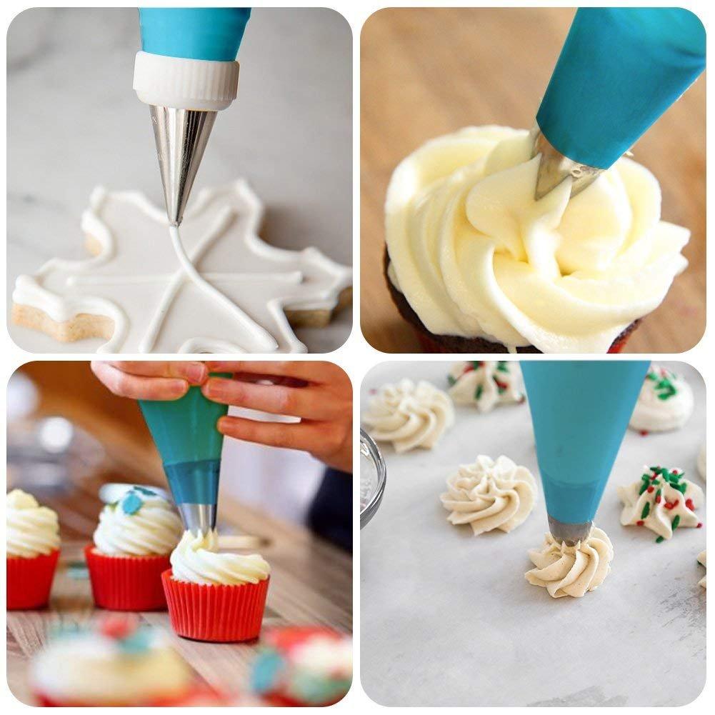 Labios de azúcar 32 piezas Ruso de tuberías de puntas para acero inoxidable Cake Decoration Icing Piping Boquillas Set con 2 para repostería de silicona ...